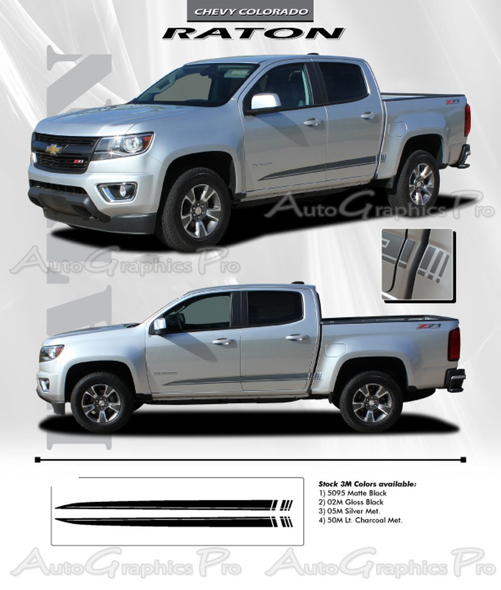 2015 2016 2017 2018 2019 Chevy Colorado Stripes RATON Decals Lower Rocker Panel Accent Body Side ...