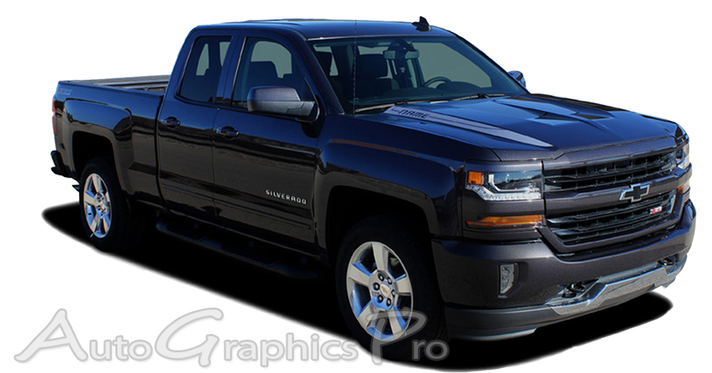 Chevy Silverado LATERAL SPIKES Double Hood - Decals for trucks customizedcustom graphics decals honda chevy ford gmc mitsubishi