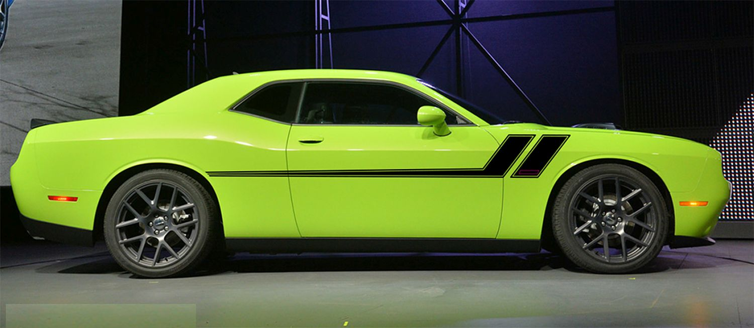 track xl dodge challenger mid body  door rally accent vinyl stripes decal graphics kit
