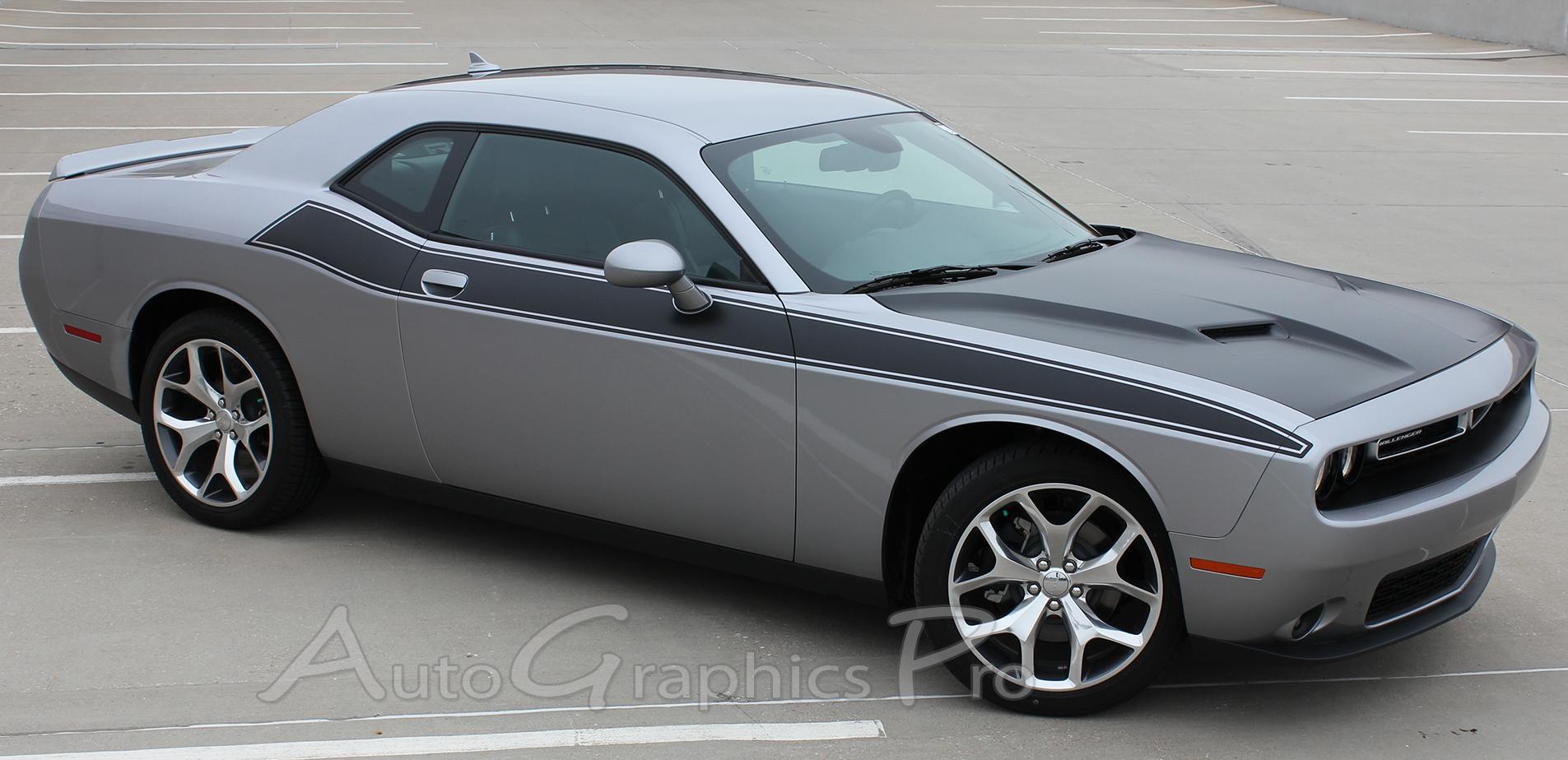 2011-2017 2018 Dodge Challenger Door Stripes PURSUIT Decals Body Line T/A 392 Vinyl Graphics Kit & 2011-2017 2018 Dodge Challenger Door Stripes PURSUIT Decals Body ...