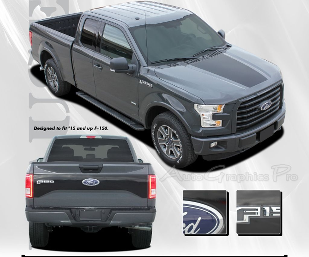 Ford F RACER STYLE HOOD And TAILGATE Blackout - Decal graphics