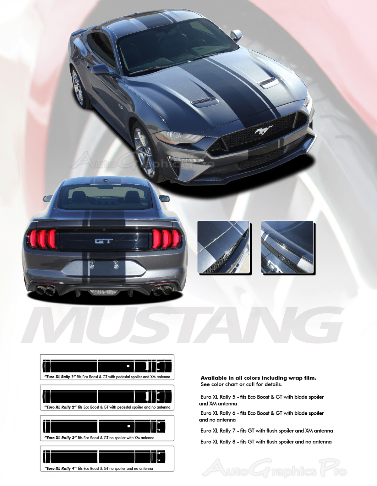 2018 2019 Ford Mustang Racing Stripes Euro Xl Rally Vinyl