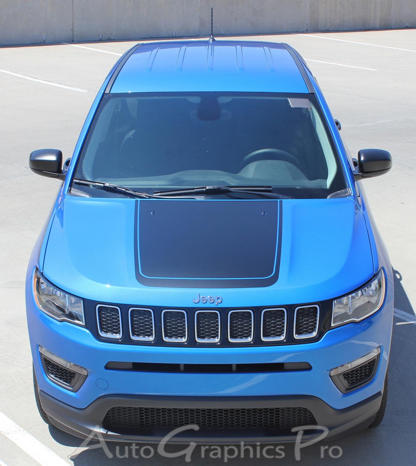 jeep compass hood vinyl graphics bearing decals stripes center blackout kit