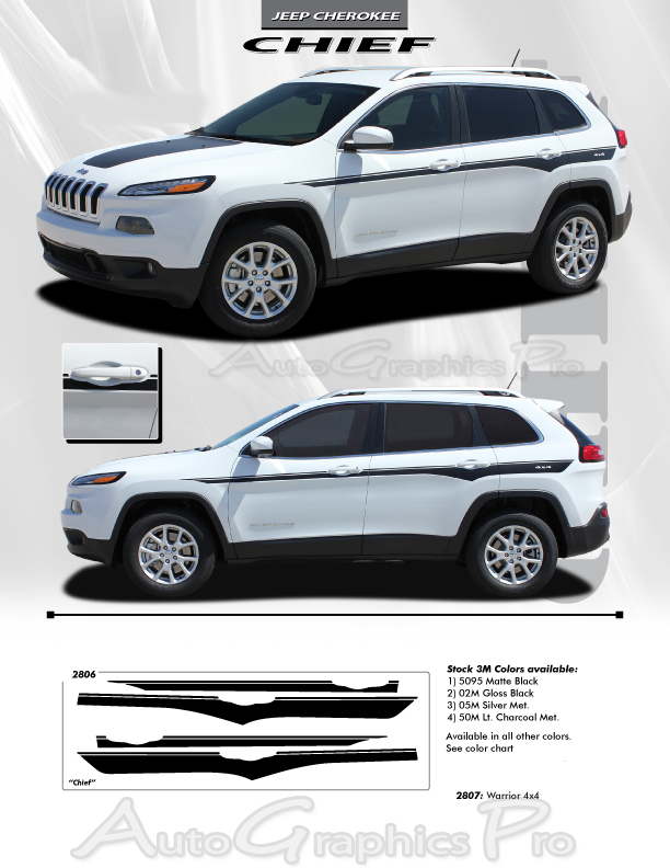 2014-2019 Jeep Cherokee Stripes CHIEF Vinyl Decal Graphic ...