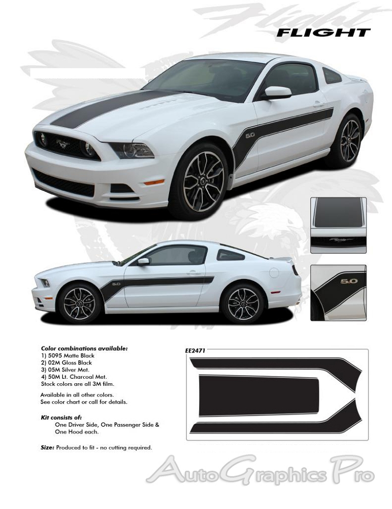 Ford Mustang FLIGHT Hockey Style Vinyl Decal Graphics - Decal graphics
