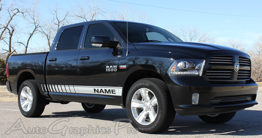 Dodge Ram LOWER ROCKER STROBES Truck Side Vinyl - Truck bed decals custombody graphicsdodge ram