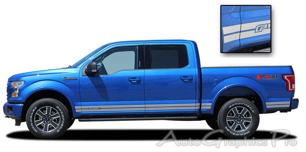 "2015 2016 2017 Ford F-150 ""ROCKER ONE"" Lower Rocker Stripes Vinyl ..."