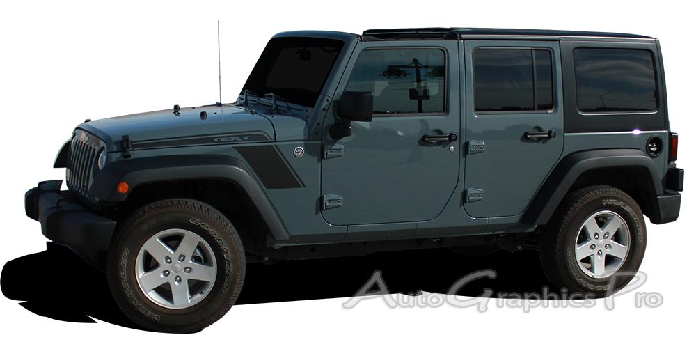 Jeep Wrangler RUNDOWN Hood To Fender Vinyl Decal - Jeep hood decalsgraphics for jeep wrangler hood decals and graphics www