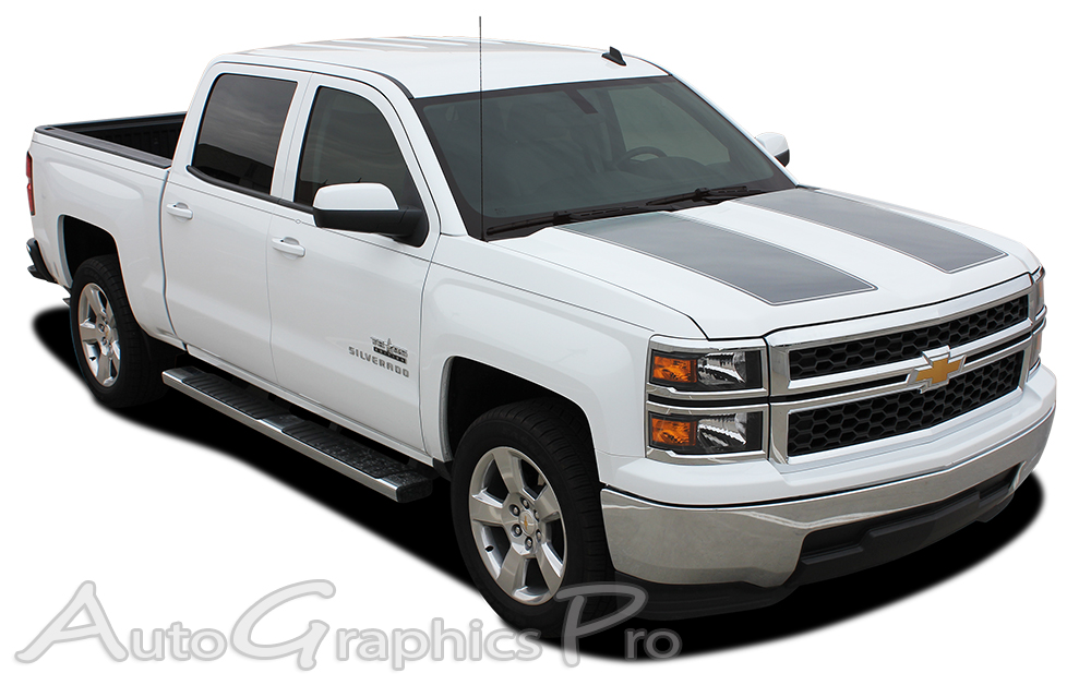 2014 2015 chevy silverado 1500 rally edition style truck racing vinyl graphics stripes kit. Black Bedroom Furniture Sets. Home Design Ideas
