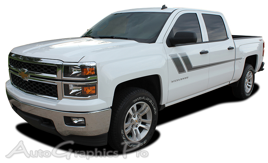 Chevy Silverado TRACK XL Truck Side Vinyl Graphics - Truck decal graphics