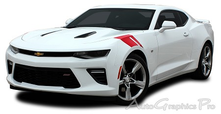 "2016 2017 2018 Chevy Camaro HASHMARK Hood to Fender ""Factory OEM Style"" Double Bar Accent Vinyl Stripes Decal Graphic Kit fits SS and RS Models"