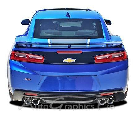 2016 2017 Chevy Camaro HERITAGE BLACKOUT 50th Anniversary Style Trunk Accent Indy 500 Decal Stripes Kit fits SS RS V6