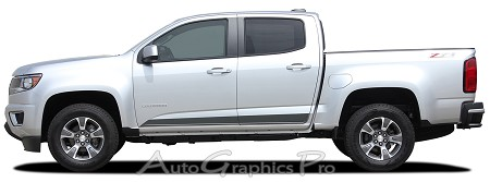 "2015 2016 2017 2018 Chevy Colorado Stripes ""RAMPART"" Vinyl Graphics Lower Rocker Panel Decals Accent Factory Body Side Kit"