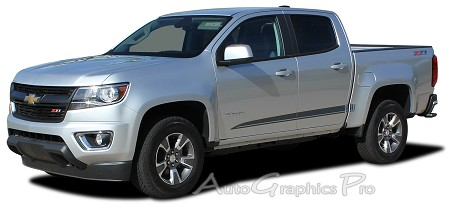 "2015 2016 2017 2018 Chevy Colorado GMC Canyon Stripes ""RATON"" Decals Lower Rocker Panel Accent Body Side Vinyl Graphics Stripes Kit"