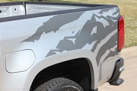 "2015 2016 2017 2018 Chevy Colorado Truck Bed Stripes ""ANTERO"" Decals Rear Side Bed Mountain Scene Accent Vinyl Graphics Kit"