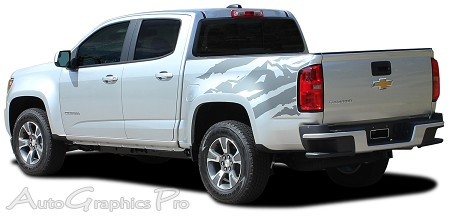 "2015 2016 2017 Chevy Colorado ""ANTERO"" Rear Side Truck Bed Mountain Scene Accent Vinyl Graphics Stripes Kit"