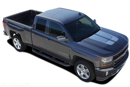2016 2017 2018 chevy silverado stripes 1500 chase rally special edition truck hood racing decals. Black Bedroom Furniture Sets. Home Design Ideas