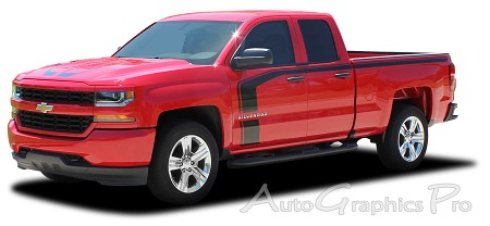 "2016 2017 2018 Chevy Silverado Special Edition Rally Style ""FLOW"" Truck Hood Racing Stripes Side Door Vinyl Graphics Kit"