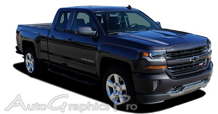 "2016 2017 2018 Chevy Silverado 1500 ""LATERAL SPIKES"" Double Hood Spear Hood Accent Vinyl Graphics Stripes Kit"