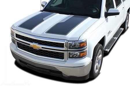 "2014-2015 Chevy Silverado ""1500 RALLY PLUS"" Edition Style Truck Racing Vinyl Graphics Stripes Kit"