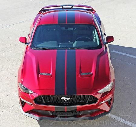 "2018 Ford Mustang Racing Stripes STAGE RALLY Vinyl Graphics 7"" inch Wide Hood Decals"