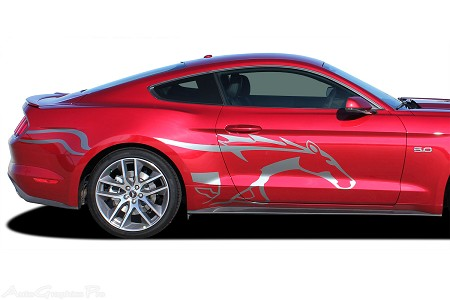 "2015 2016 2017 Ford Mustang ""STEED"" Pony Style Horse Side Stripes Vinyl Decal Graphics"