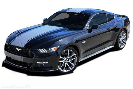 "2015 2016 2017 Ford Mustang Super Snake ""CONTENDER"" Mohawk Center Wide Racing Rally Stripes Vinyl Decal Graphics"