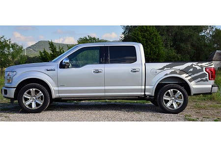 "Ford F-150 ""ANTERO"" Rear Side Truck Bed Mountain Scene Accent Vinyl Graphics Decal Stripes Kit"