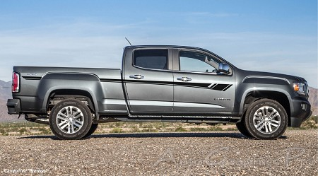 """BREAKER"" GMC Canyon or Chevy Colorado Truck Mid Body Line Door Rally Accent Vinyl Stripes Decal Graphics Kit"