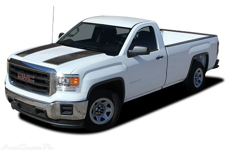 "2014-2017 2018 GMC Sierra ""SIERRA RALLY"" Truck Hood Racing Vinyl Graphics Stripes Special Edition Kit"