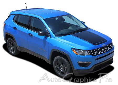 "2017 - 2018 Jeep Compass Hood Vinyl Graphics ""BEARING"" Decals Stripes Center Blackout Kit"