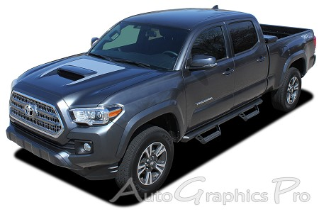 "2015-2017 Toyota Tacoma ""SPORT HOOD"" Hood Wrap TRD Sport Pro Accent Trim Decal 3M Vinyl Graphics Stripe Kit"
