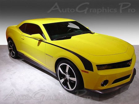 "2010-2013 and 2014-2015 Chevy Camaro ""HOCKEY"" Throwback Stripes Side Vinyl Graphics"