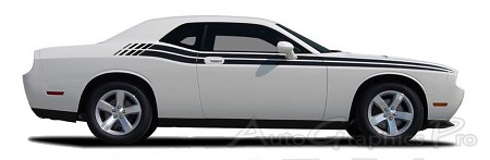 "2008-2010 and 2011-2017 Dodge Challenger ""DUAL"" Mopar Style Strobe R/T Vinyl Graphics Stripes Decal Kit"