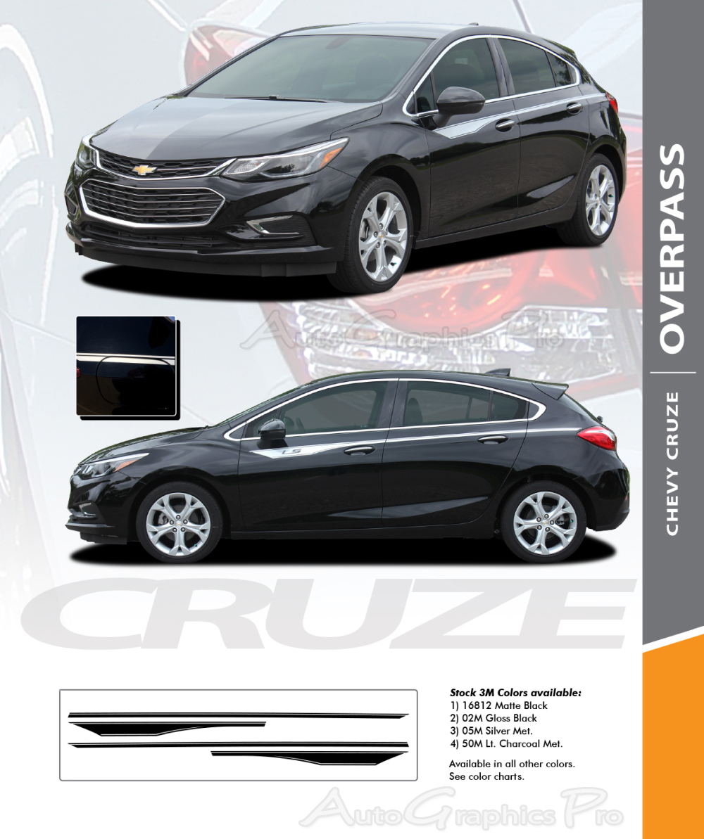 2016 2017 2018 2019 Chevy Cruze Stripes OVERPASS Decals 3M