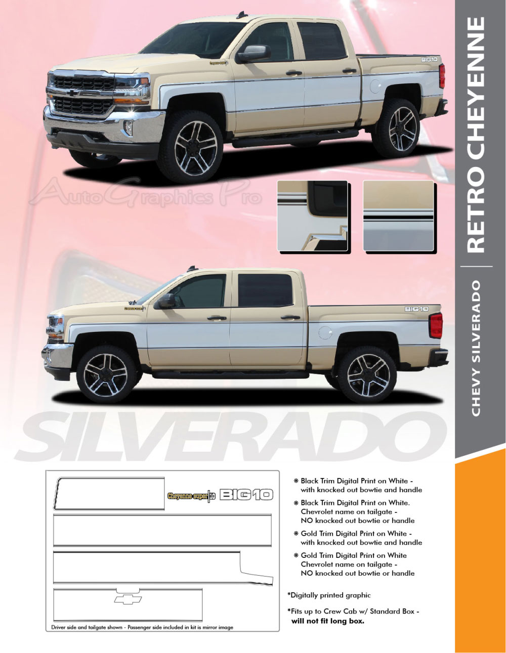 2014-2018 Chevy Silverado RETRO CHEYENNE Truck Stripes Mid-Body Accent  Decals Side Door Vinyl Graphics Kit