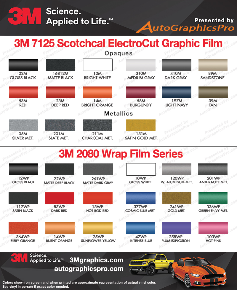 3M Premium Scotchcal 7125 and 3M 1080 Wrap Series Vinyl Color Chart