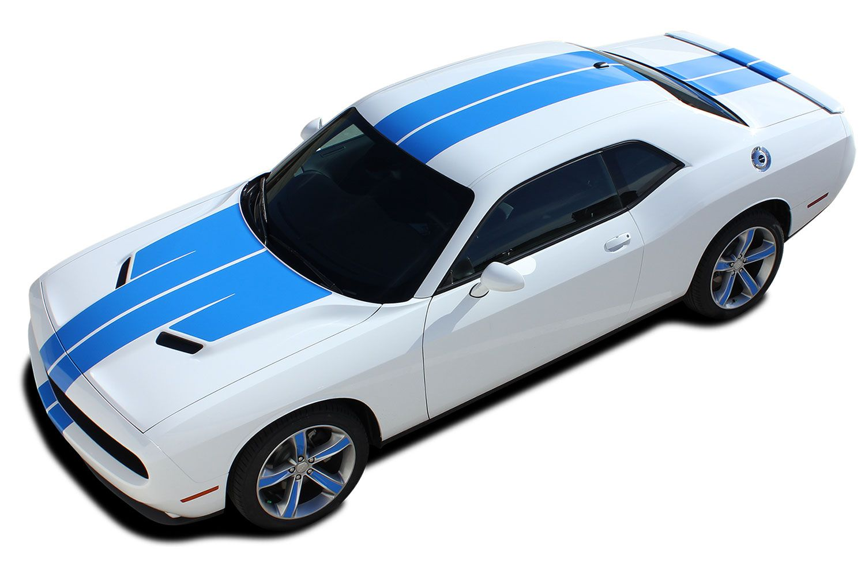 2015 2016 2017 2018 2019 Dodge Challenger Racing Stripes Rally Hood Decals  WINGED MoPar Racing Stripe Vinyl Graphics Kit