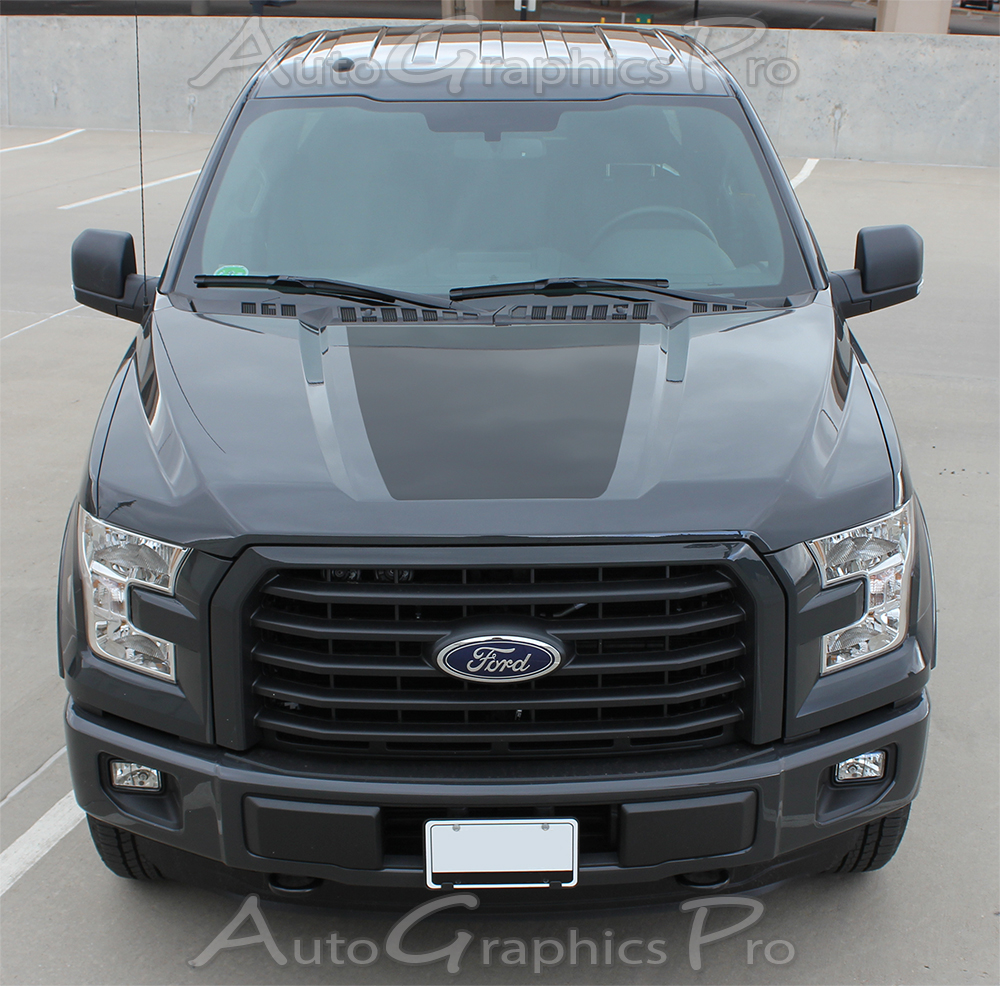 2015-2019 Ford F-150 RACER HOOD Stripes Decal Blackout