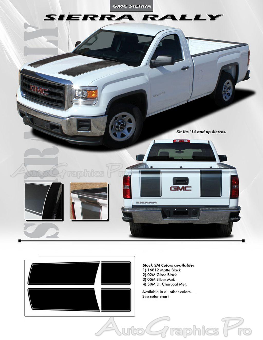 2014 2017 2018 gmc sierra racing stripes rally truck hood decals vinyl graphics kit