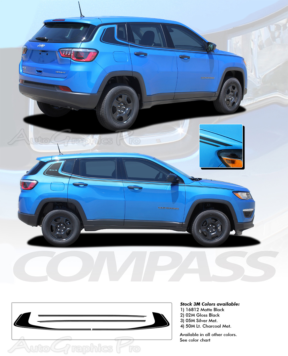 "2017-2019 Jeep Compass Stripes ""ALTITUDE"" Decal Vinyl"