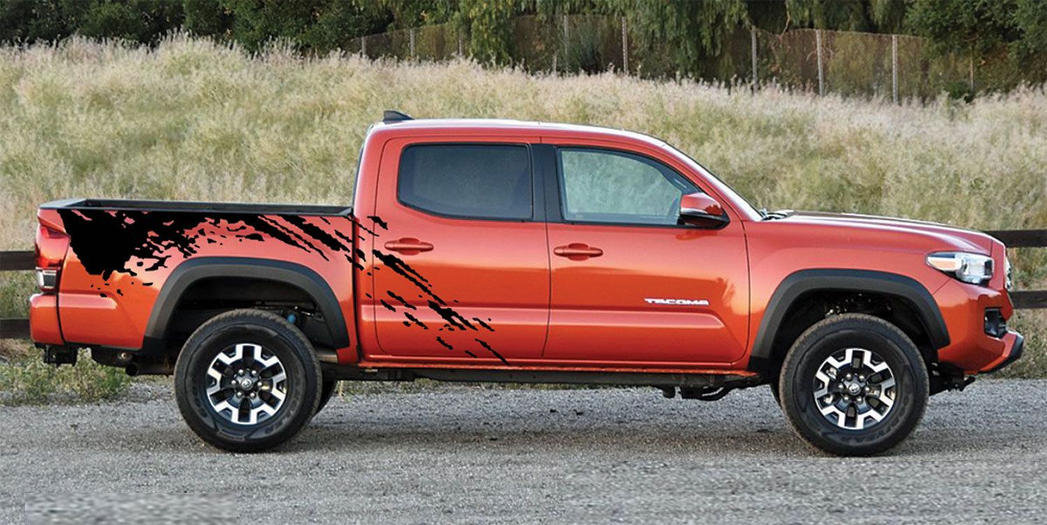 Predator toyota tacoma mudslinger side truck bed vinyl decal graphic stripes