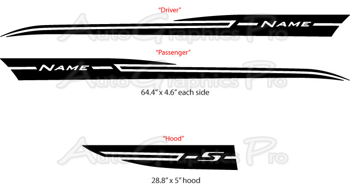 2012 2016 Chevy Sonic Stripes Boom Hood Decals And Sides