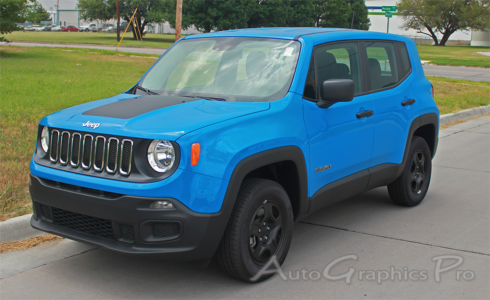 2014 2019 jeep renegade hood decal trailhawk style vinyl decal graphic stripes. Black Bedroom Furniture Sets. Home Design Ideas