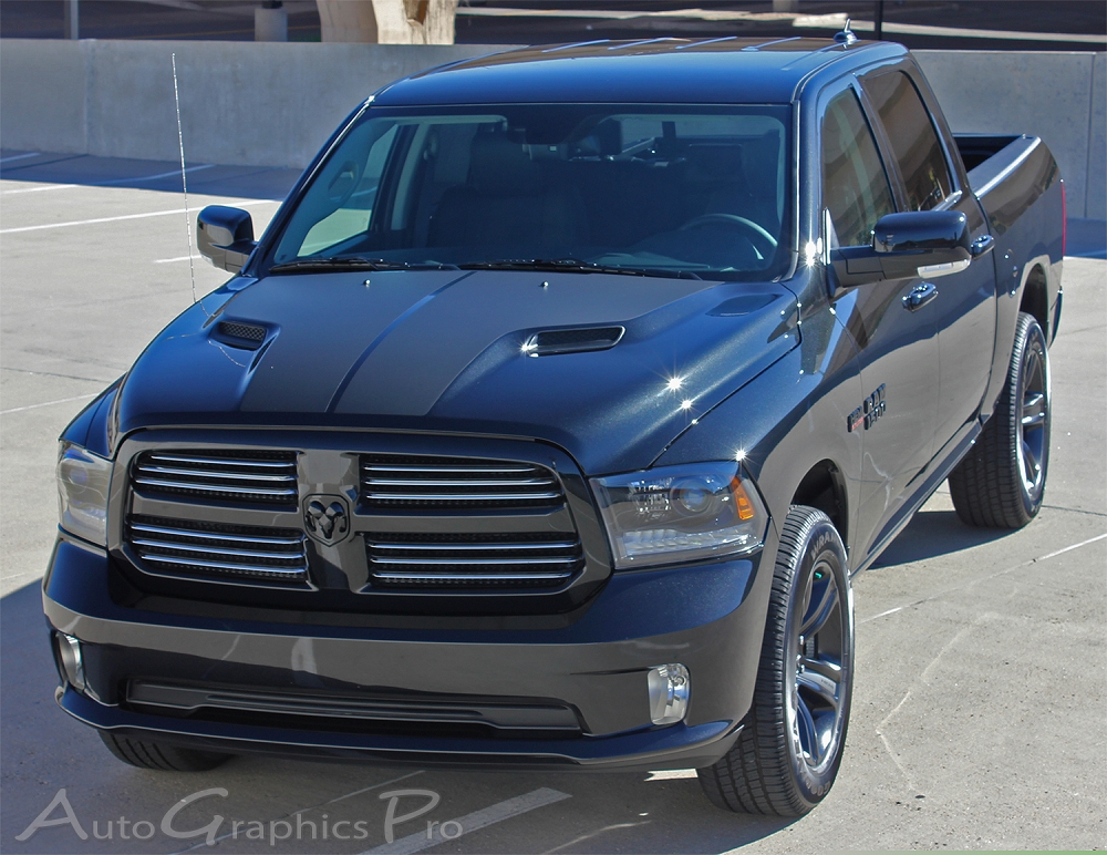 "2018 Dodge Rebel >> 2009-2018 Dodge Ram Rebel ""RAM HEMI HOOD"" Solid Center Winged Hood Vinyl Graphic Truck Stripe Kit"
