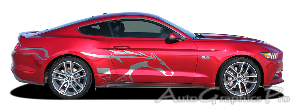 2017 2016 Ford Mustang Horse Decal Steed Pony Style Side Door Stripes Vinyl Graphics