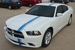 2011-2014 Dodge Charger Offset Hood Stripes E-RALLY Mopar Decals Euro Rally Vinyl Racing Stripes Graphics Kit