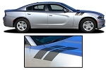 2015-2020 Dodge Charger Hood Decals DOUBLE BAR 2 Vinyl Stripes Hash Marks Mopar Style Graphics Kit