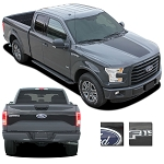2015 2016 2017 Ford F-150 RACER HOOD Stripes and TAILGATE Decal Blackout Vinyl Graphic Kits