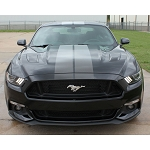 2015-2017 Ford Mustang DIGITAL FADED RALLY STRIPES Silver Hood Striping Factory OEM Style Vinyl Decal Graphics Kit